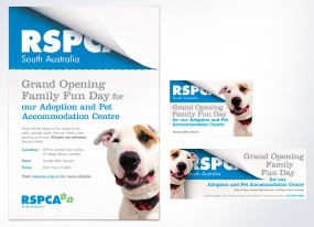 RSPCA Grand Opening poster and web banner design